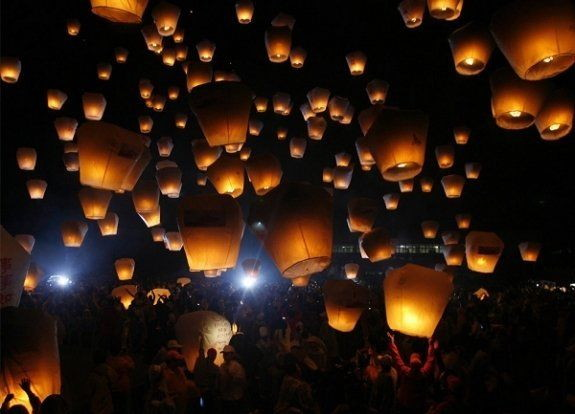Floating paper lanterns