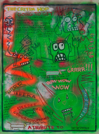 Dee Dee Ramone, Untitled (The Cretin Hop), c. 2001, Mixed media on canvas © Dee Dee Ramone, LLC. All Rights Reserved. Used by permission.