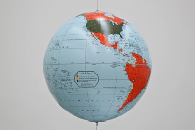 "Sam Durant's ""Custom globe"" (acrylic, paper), steel cable, miscellaneous hardware 20 inches diameter (50.8 centimeters) Research and Cartography: Candice Lin  SD 766"