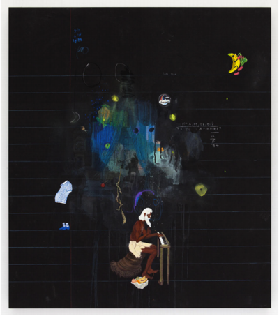 Robinson Schmoozo, 2012 by Friedrich Kunath Oil, acrylic, varnish and color pencil on canvas 54 1/2 x 47 inches (138.4 x 119.4 centimeters)