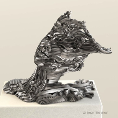 "Flow Series: 'The Wind', Gil Bruvel 17"" x 21"" x D 14"", stainless steel"