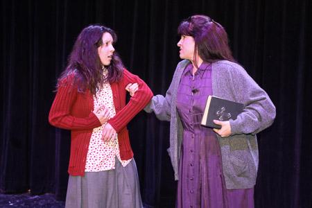 Photo caption: Elise Pardue (Carrie) and Rebecca Trinidad (Margaret)