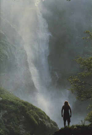 Borneo: Stuntman Terry Jackson looking out over the falls while doubling Nick Nolte