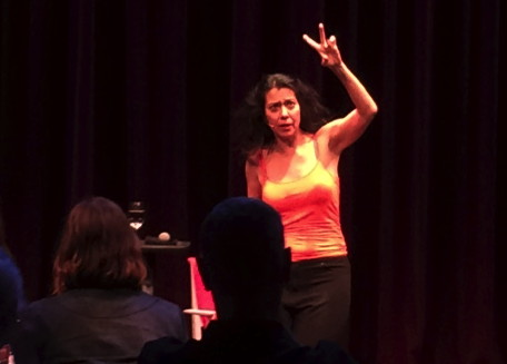 """Sandra Tsing Loh in a one-woman comedy show """"The B**** is Back: An All-Too Intimate Conversation."""" curtain call photo."""