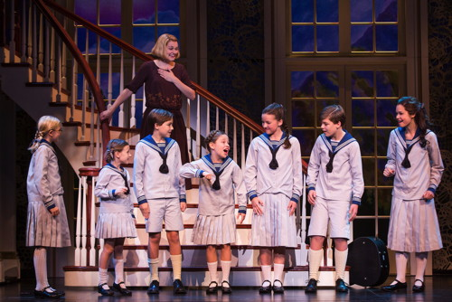 "Kerstin Anderson plays Maria Rainer in the national tour of Rodgers & Hammerstein's ""The Sound of Music,"" directed by Jack O'Brien. Anderson is joined by the von Trapp children: (L-R) Svea Johnson who plays Brigitta, Audrey Bennett (Gretl), Quinn Erickson (Kurt), Mackenzie Currie (Marta), Maria Knasel (Louisa), Erich Schuett (Friedrich) and Paige Silvester (Liesl). ""The Sound of Music"" is now playing at the Center Theatre Group/Ahmanson Theatre through October 31, 2015. Tickets are available at CenterTheatreGroup.org or by calling (213) 972-4400. Contact: CTG Media and Communications / (213) 972-7376 / CTGMedia@ctgla.org Photo by Matthew Murphy."