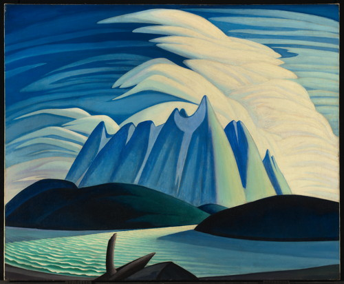 Lawren Harris, Lake and Mountains, 1928. Oil on canvas. 51 1/2 x 63 1/4 in. (130.8 x 160.7 cm). Art Gallery of Ontario; Gift from the Fund of the T. Eaton Co. Ltd. for Canadian Works of Art, 1948. ©Family of Lawren S. Harris.