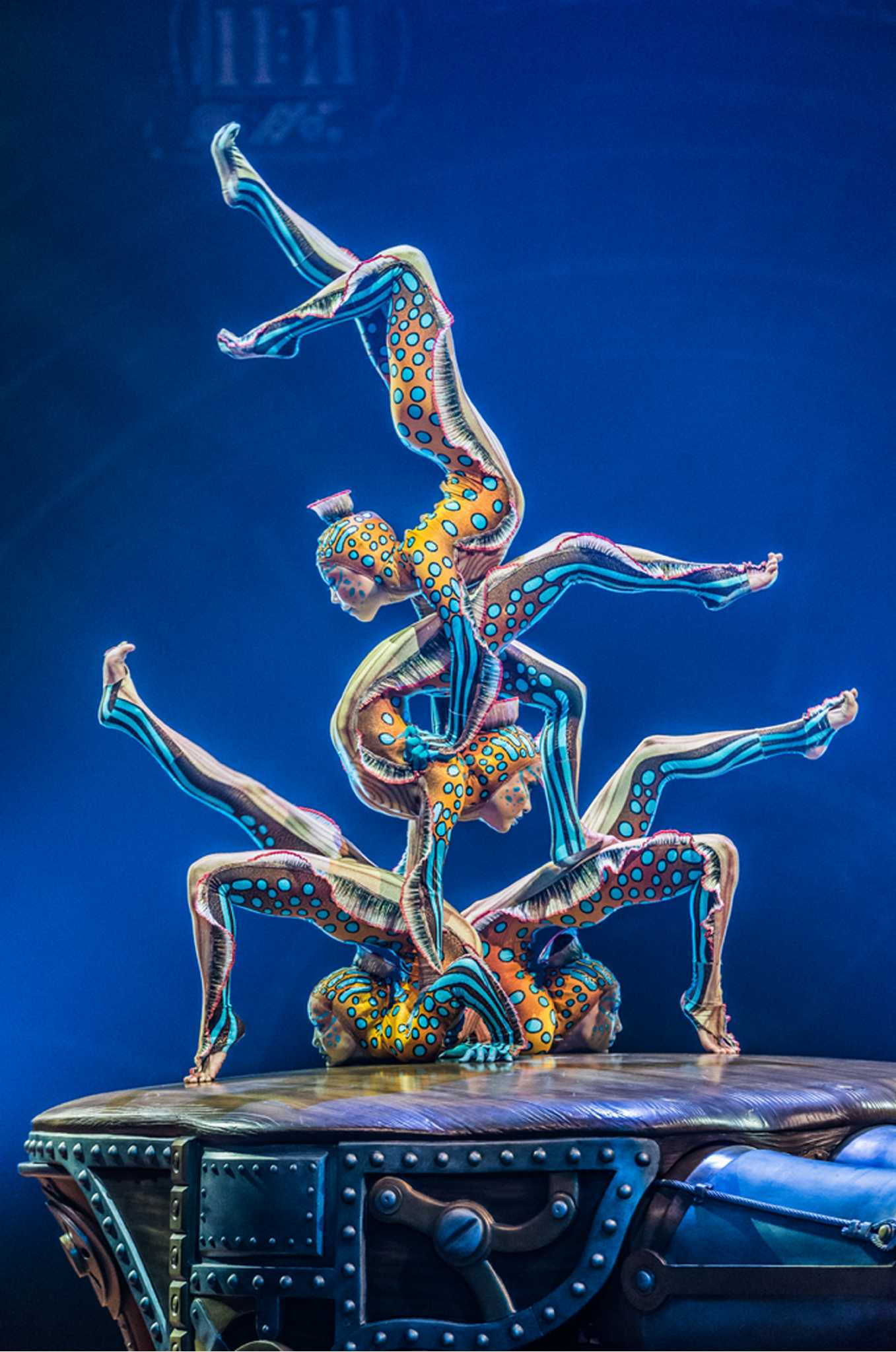 "Bayarma Zodboeva, Imin Tsydendambaeva, Lilia Zhambalova and Ayagma Tsybenova portray sea creatures in a contortion-balancing act  in Cirque du Soleil's ""Kurios -- Cabinet of Curiosities"""