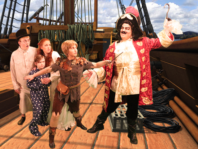 Left to right: Chase Taylor, Kate Ragan, Zac Taylor, Carlye Gossen and Joshua Goldberg in 'Peter Pan' at the Woodlawn Theatre.