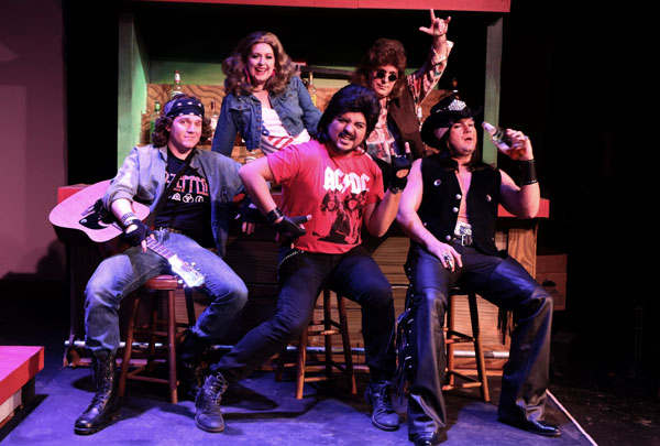 Left to right: Brian Hodges, Amanda Golden, Isidro Medina, David Blazer and Anthony Cortino in 'Rock of Ages' at the Woodlawn Theatre. Photo by Siggi Ragnar.