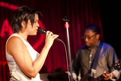 Kathryn Bostic in performance, with Darryl Jones