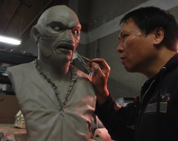 """The Creature Walks Among Us"" 1-1 scale bust sculpture by Steve Wang (pictured)."