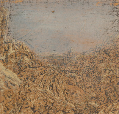 Hercules Segers (1589/90–c. 1633–38), Mountain Gorge Bordered by a Road, c. 1615–30. Contre-épreuve of etching, with oil paint, 6 × 6 5/16 in. (15.4 × 16 cm). Collection Rijksmuseum, Amsterdam; on loan from the Rijksacademic van Beeldende Kunsten.