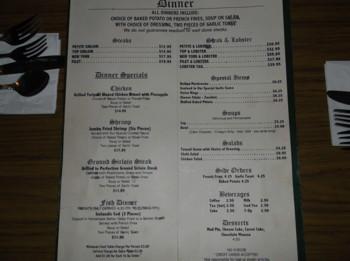 Sherman Room menu