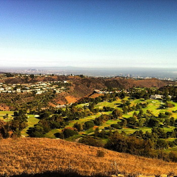 Upper Canyonback trail, Encino with view of MountainGate golf course, Downtown LA. Photo by Pauline Adamek.