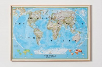 "Sam Durant's ""The World in Three Parts, Political"" Spray enamel on map from Sam Durant's Pigs and Gold 30 ½ H X 43 ½ L 2011"