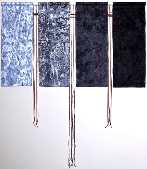 "The Four Phases inks on rice paper with painted string 60"" x 50"""