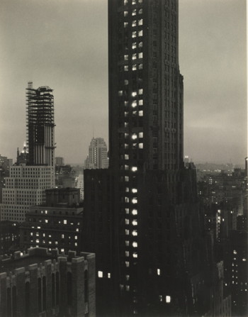 ALFRED STIEGLITZ, Evening, New York from the Shelton, 1931. Estimate $200,000-300,000. © 2014 ESTATE OF ALFRED STIEGLITZ / ARTISTS RIGHTS SOCIETY (ARS), NEW YORK. Image courtesy of Sotheby's.