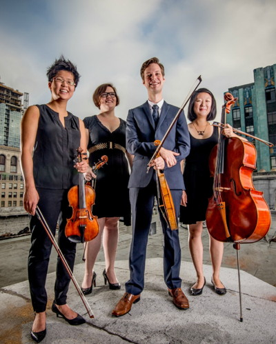 ARGUS QUARTET Jason Issokson and Clara Kim violins Diana Wade viola, Joann Whang cello. Photo credit unknown.