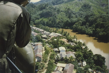 Borneo: Chopper shot over the village.