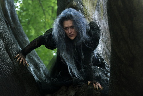 Photo credit: Meryl Streep as the witch (Peter Mountain, Walt Disney Studios).