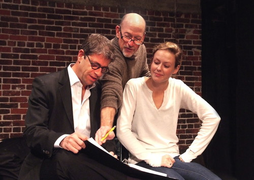 Playwright Allen Barton, director Joel Polis and actress Carter Scott in rehearsal. (Photo by Ed Krieger.)