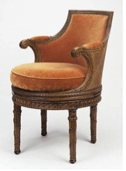 Frame by Georges Jacob; carved by Pierre- Claude Triquet; and Jean-Baptiste-Simon Rode. French, Paris, about 1787. Beechwood; caning; modern upholstery. H: 2 ft. 9 1/2 in. x W: 1 ft. 10 3/4 in. x D: 1 ft. 9 1/2 in. 72.DA.51. J. Paul Getty Museum.