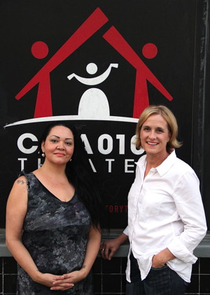 (l to r) Playwrights Josefina López and Kathy Fischer in front of CASA 0101 Theater - Photo by Steve Moyer.