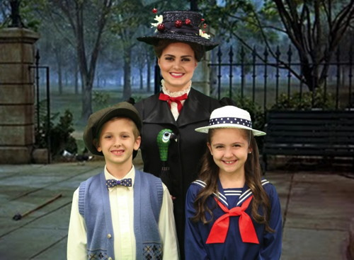 Mia Migliaccio as Mary Poppins with Jack Dullnig and Madison Calderon as Michael and Jane Banks in the Woodlawn Theatre production. Photo credited to Woodlawn Theatre.