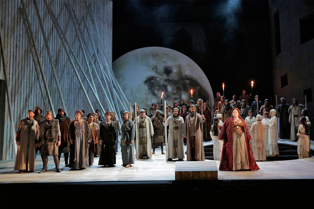 "Angela Meade in the title role of LA Opera's 2015 production of ""Norma."" (Photo: Ken Howard)"