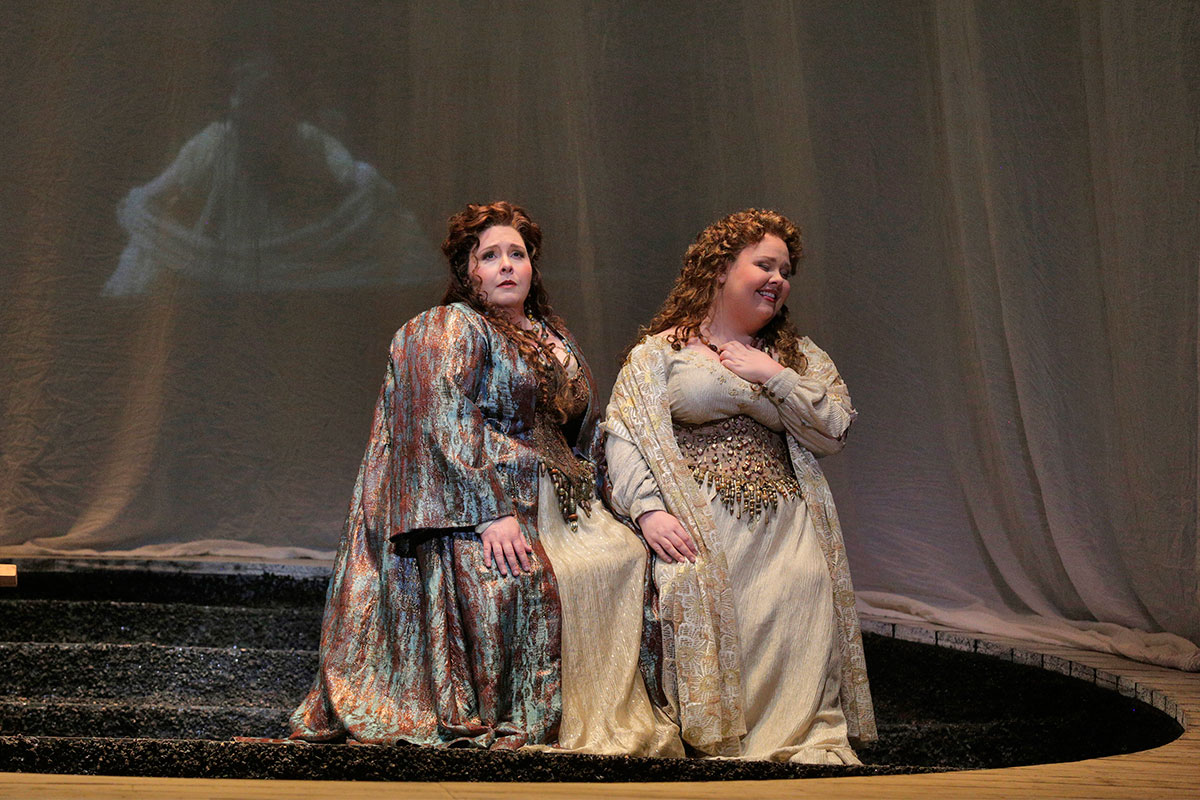 "Angela Meade as Norma and Jamie Barton as Adalgisa in LA Opera's 2015 production of ""Norma."" (Photo: Ken Howard)"