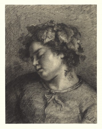 """Head of sleeping Bacchante."""