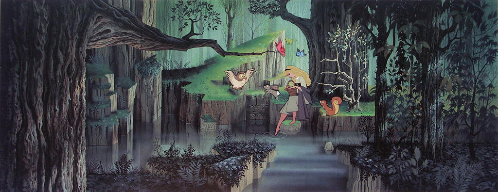 Eyvind Earle - Background painting for Sleeping Beauty.