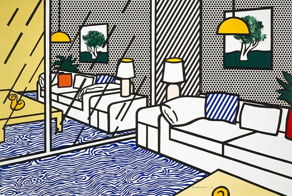 Roy Lichtenstein, Wallpaper with Blue Floor Interior, 1992. Collection of the Jordan Schnitzer Family Foundation. © Estate of Roy Lichtenstein / Gemini G.E.L.